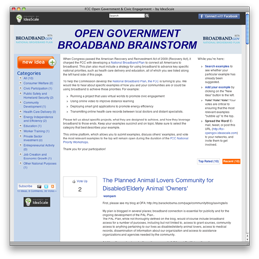 The Federal Communications Commission launches National Broadband Plan Brainstorm to seek examples from the public about how broadband is being used to achieve national priorities