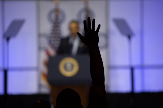 President Barack Obama finishes his closing remarks at the NAACP Convention