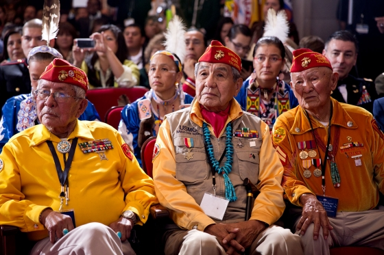 Audience members listen as President Obama delivers remarks during the White House Tribal Nations Conference (December 5, 2012)