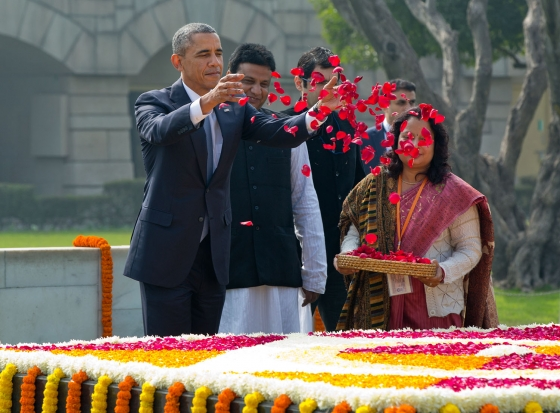 President Obama Drops Petals at Gandhi Memorial