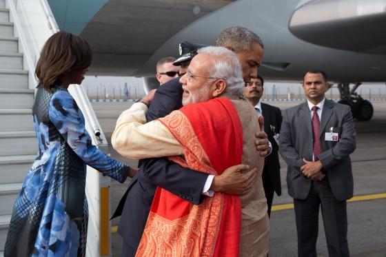 President Obama Greets Prime Minister Modi in India