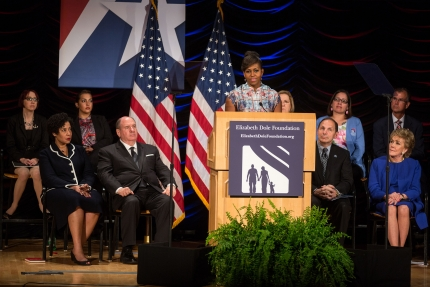 First Lady Michelle Obama delivers remarks at the Elizabeth Dole Foundation's Hidden Heroes Coalition Summit