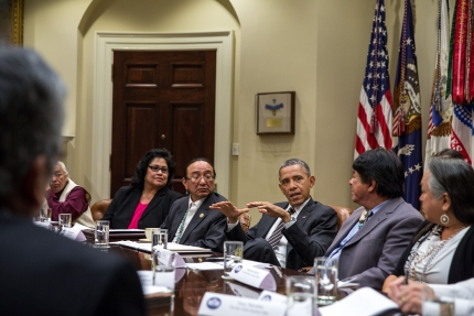 President Barack Obama meets with a group of tribal leaders in the Roosevelt Room of the White House, Nov. 12, 2013
