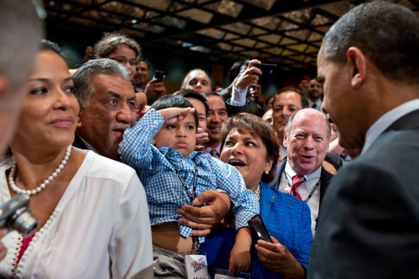 Young Boy Salutes President at NALEO