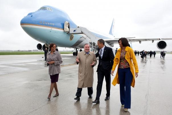 President Barack Obama Walks With Chicago Mayor Richard Daley