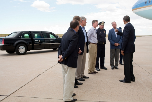 President Obama greets officials at Buckley