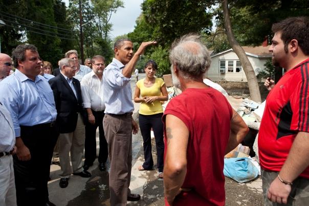 President Barack Obama talks with residents