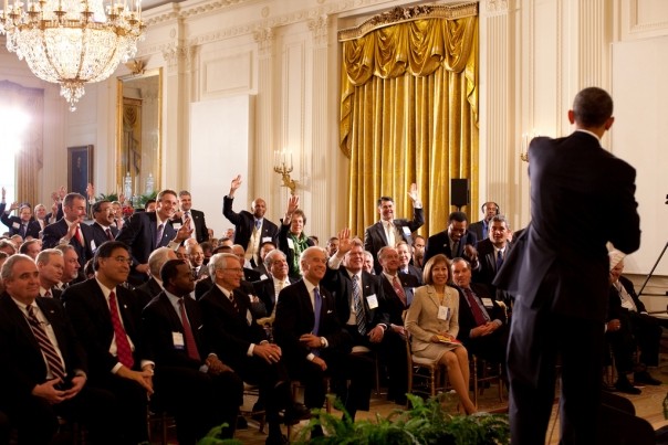 President Barack Obama participates in a Q&A session during the U.S Conference of Mayors