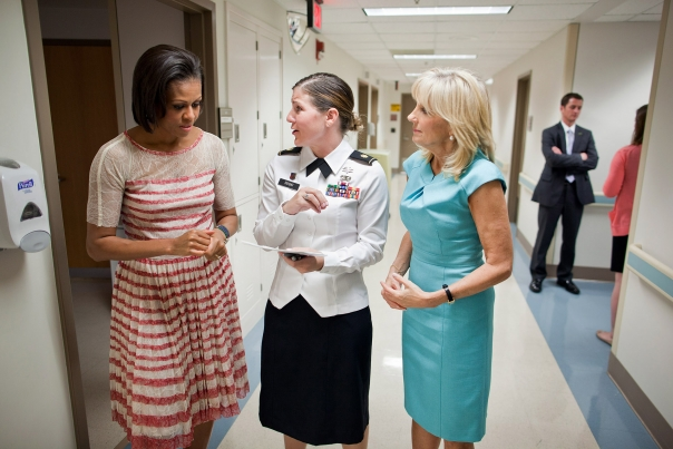 First Lady Michelle Obama and Dr. Jill Biden at Brooke Army Medical Center