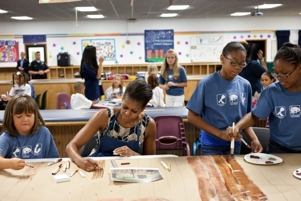 First Lady Michelle Obama Visits The Naval Air Station Oceana Summer Camp
