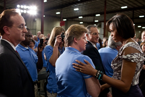 First Lady Michelle Obama Greets People at a Sears Distribution Center