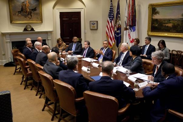 President Barack Obama and Vice President Joe Biden meet with U.S. mayors