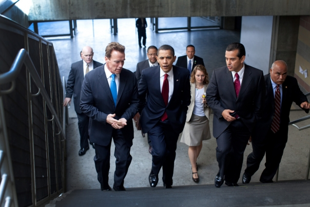President Barack Obama talks with Gov. Arnold Schwarzenegger and L.A. Mayor Antonio Villaraigosa