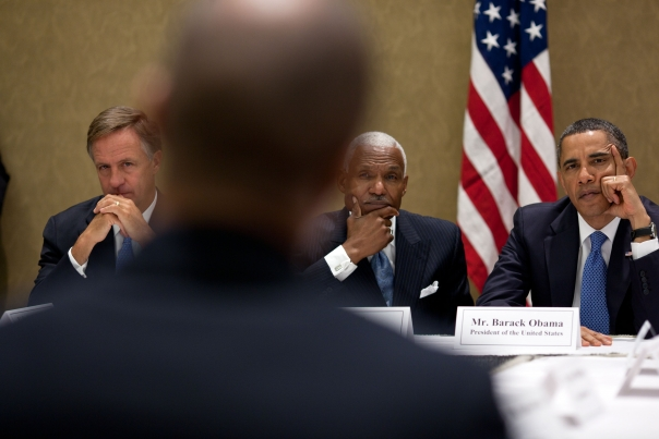 President Barack Obama is joined by Tennessee Gov. Bill Haslam and Memphis Mayor A.C. Wharton