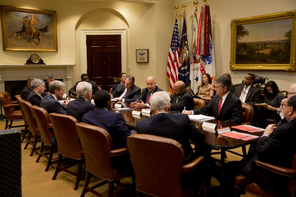 Vice President Joe Biden meets with the U.S. Conference of Mayors in the Roosevelt Room