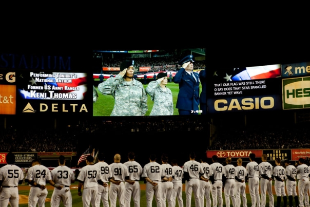Members of the Yankees Stand on the Field During the National Anthem