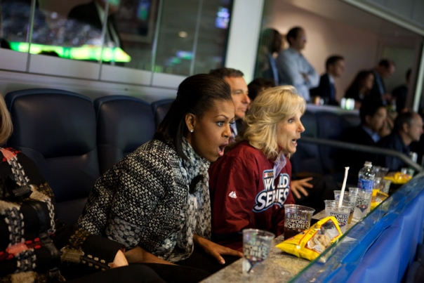 First Lady Michelle Obama and Dr. Jill Biden React To a Play
