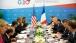 President Obama Listens To President Hollande