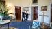 President Obama and President Peña Nieto walk through the Blue Room
