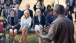 Dr. Jill Biden and Zambian Second Lady Dr. Charlotte Scott are briefed wide