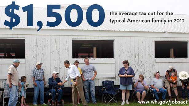 $1,500: The average tax cut for the typical American family in 2012