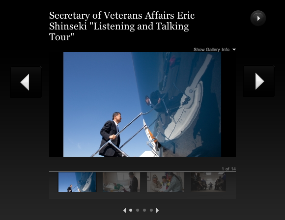 Link to photo gallery, Secretary of Veterans Affairs Eric Shinseki Listening and Talking Tour.