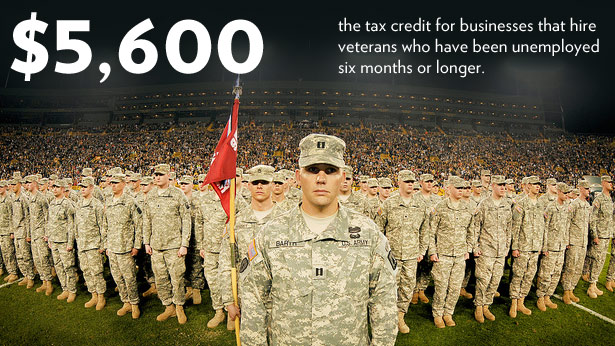 $5,600: The tax credit for businesses that hire veterans who have been unemployed six months or longer