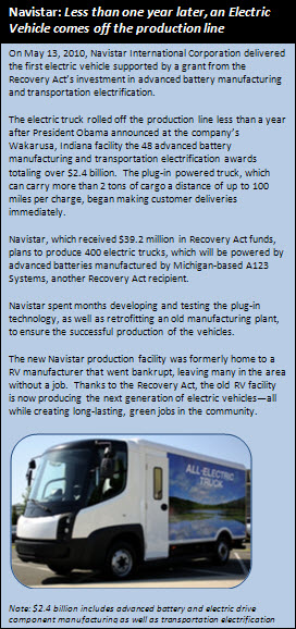 On May 13, 2010, Navistar International Corporation delivered the first electric vehicle supported by a grant from the Recovery Act's investment in advanced battery manufacturing and transportation electrification.