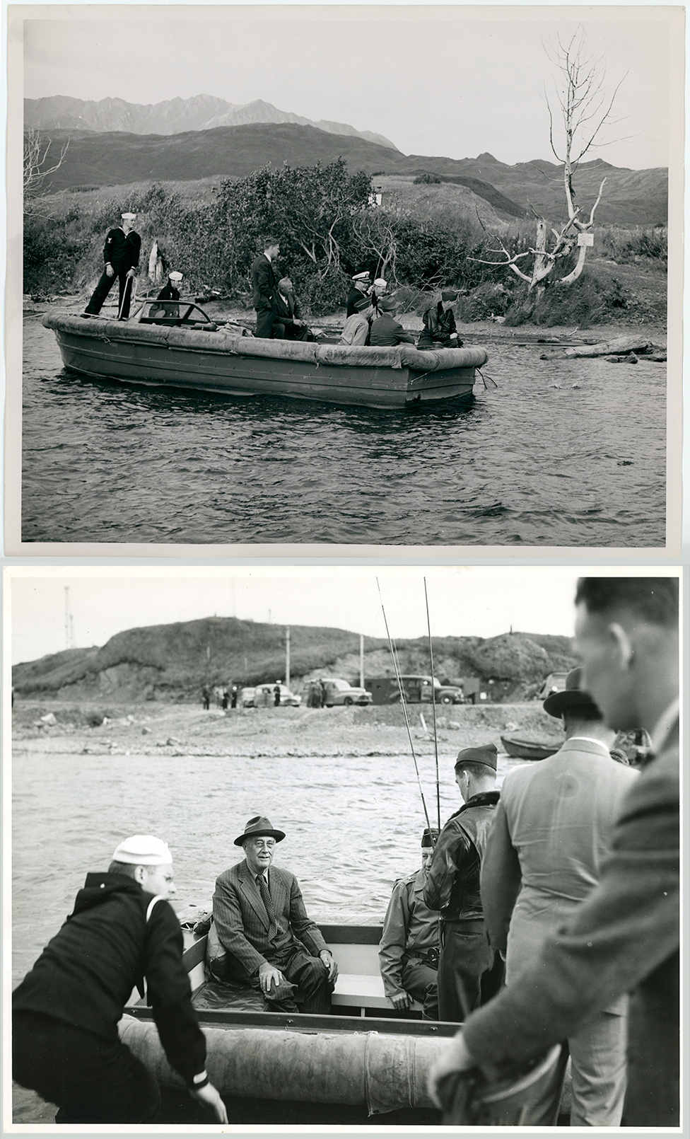 two images of President Franklin D. Roosevelt in Alaska in 1944
