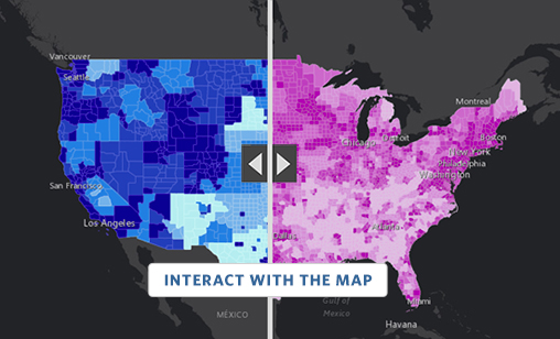 Interact with the ESRI map that helps show the digital divide in the US with visualizations of home internet subscriptions against household income