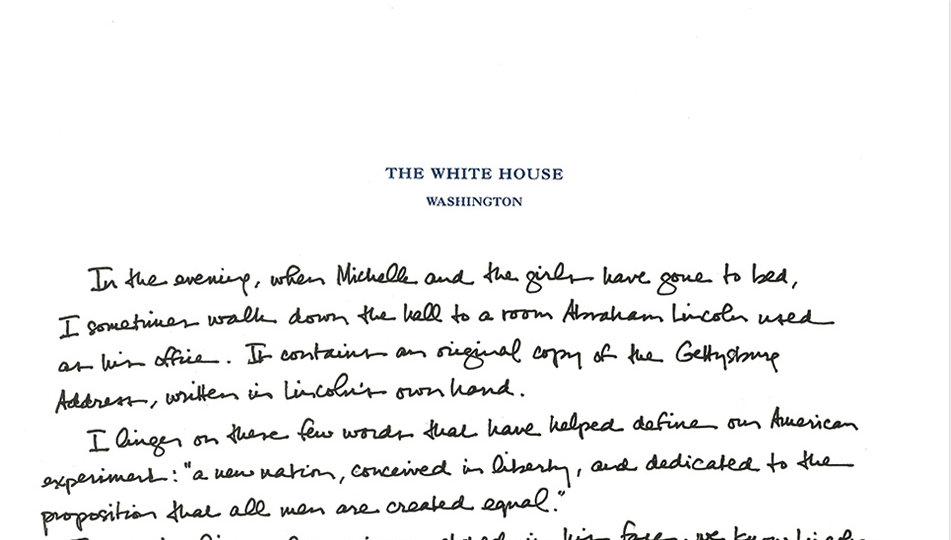 The President writes a handwritten tribute to the Gettysburg Address.