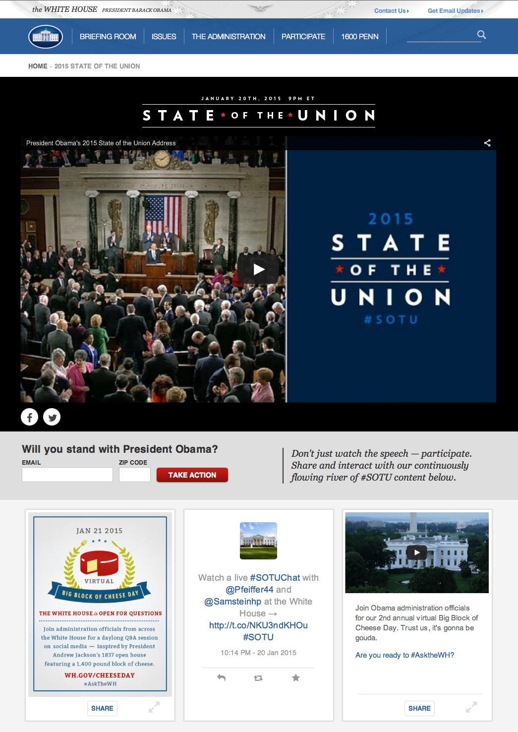 screenshot image of the 2015 State of the Union page