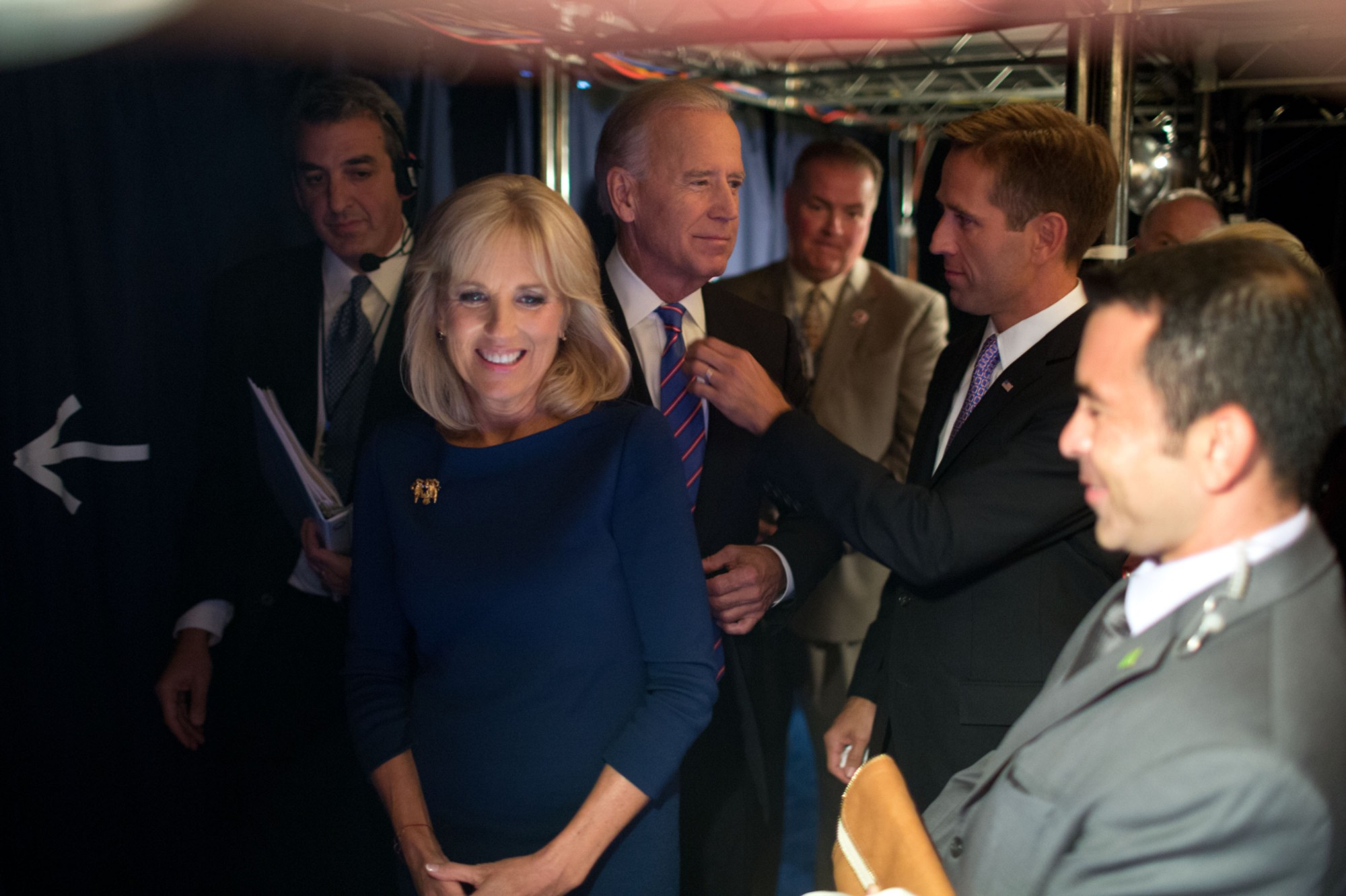 Beau Biden prepares Vice President Biden for an event