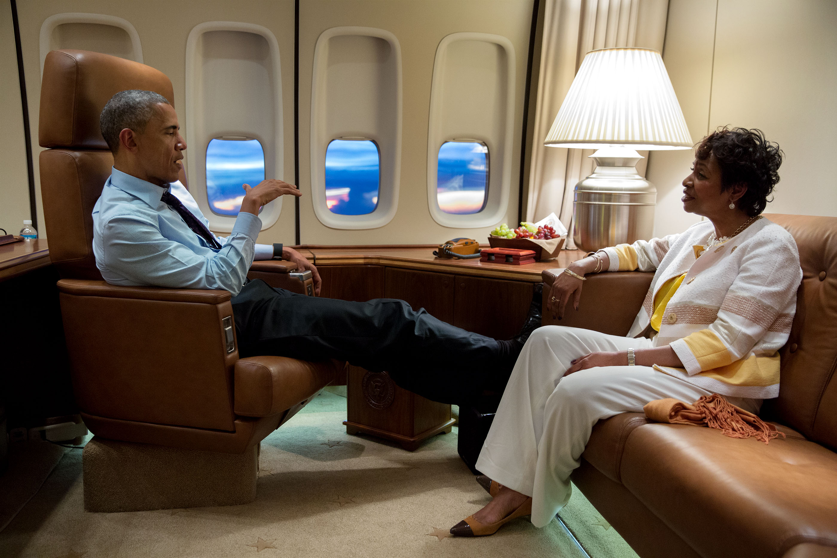 President Barack Obama meets with Rep. Yvette Clarke, D-N.Y., aboard Air Force One en route to Kingston, Jamaica, April 8, 2015. Rep. Clarke is the child of Jamaican immigrant parents. (Official White House Photo by Pete Souza)