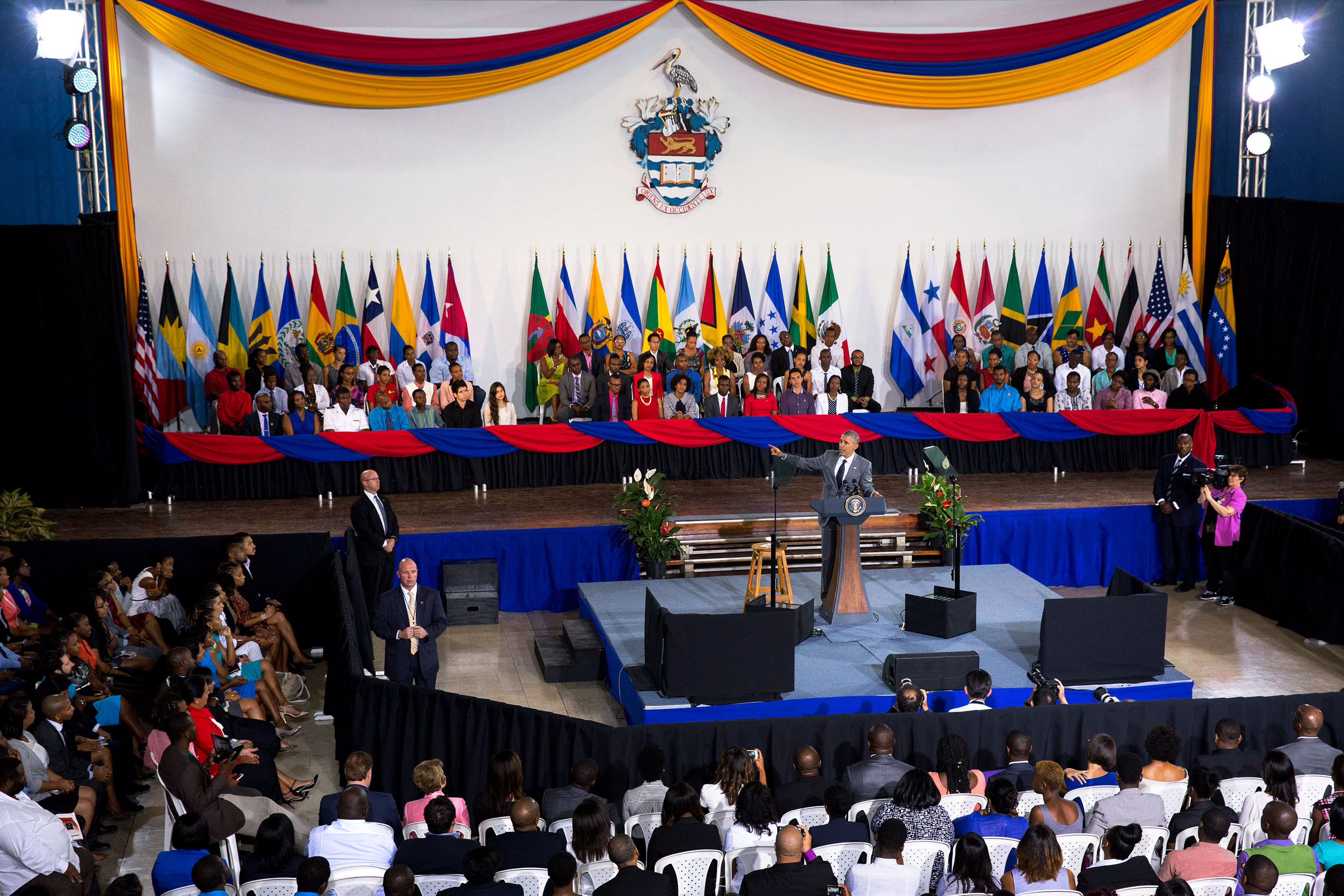 "President Obama delivers remarks during a ""Young Leaders of the Americas Initiative"" town hall at the University of the West Indies. (Official White House Photo by Amanda Lucidon) )"