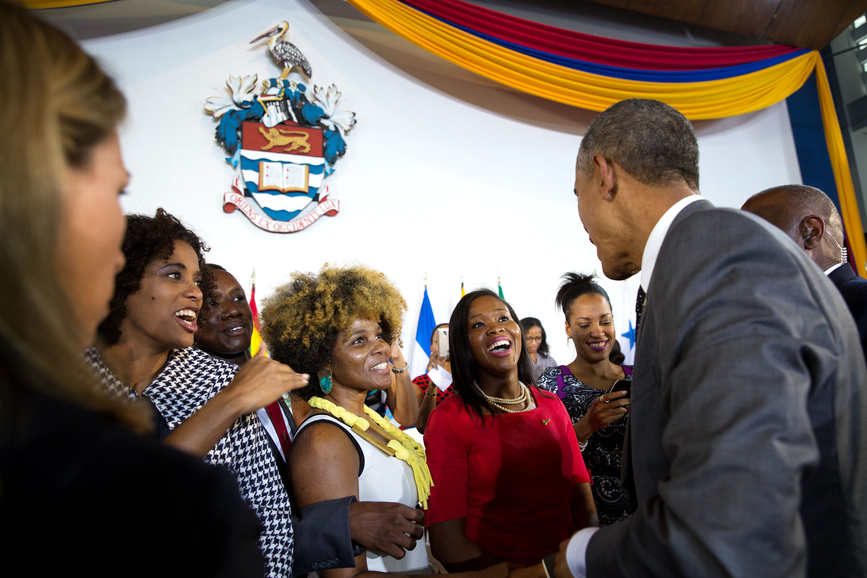 The President greets audience members following the town hall. (Official White House Photo by Pete Souza)