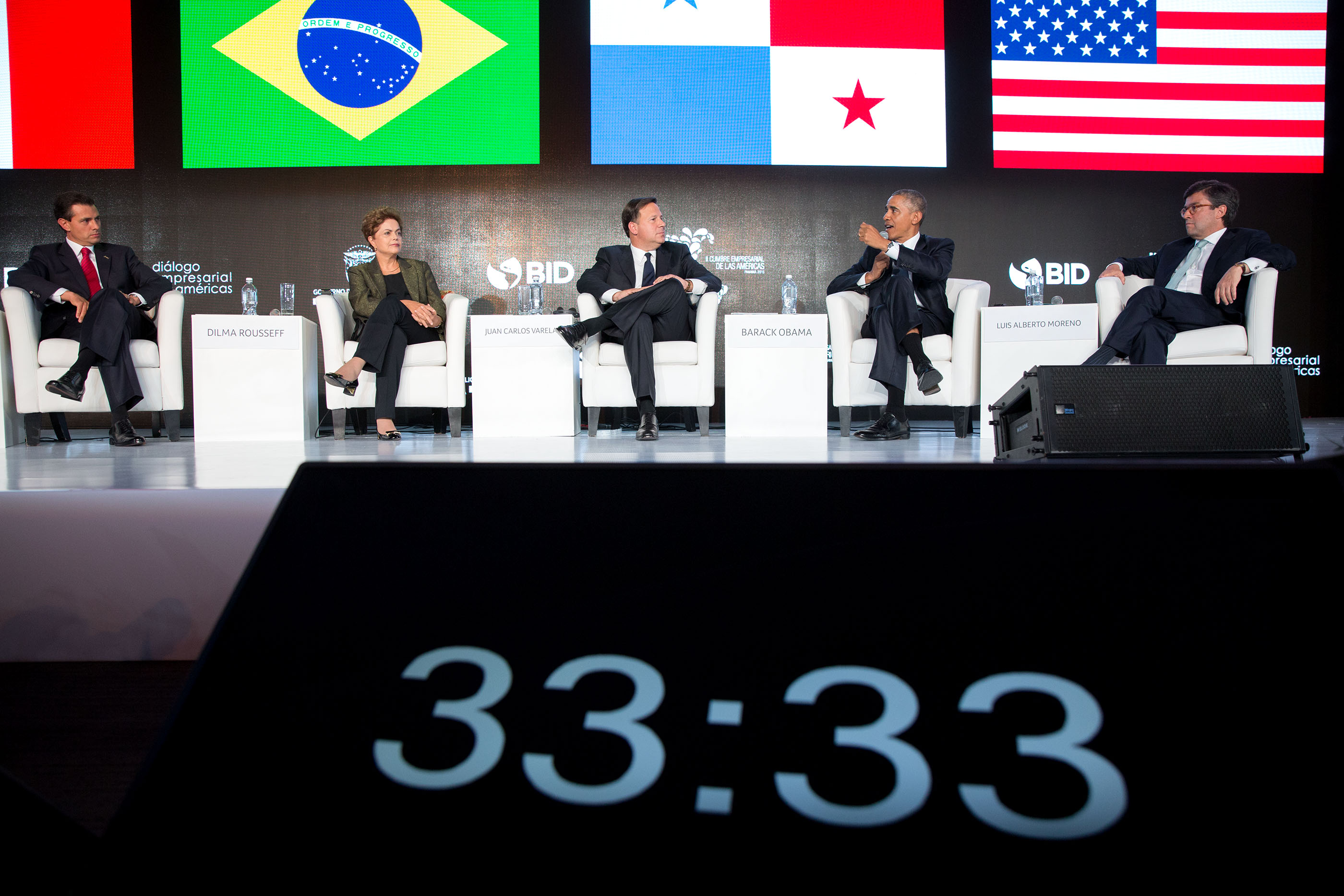 President Obama participates in the CEO Summit of the Americas with, left to right, President Enrique Peña Nieto of Mexico, President Dilma Rousseff of Brazil, President Juan Carlos Varela of Panama and International Development Bank President Luis Alberto Moreno. (Official White House Photo by Pete Souza)