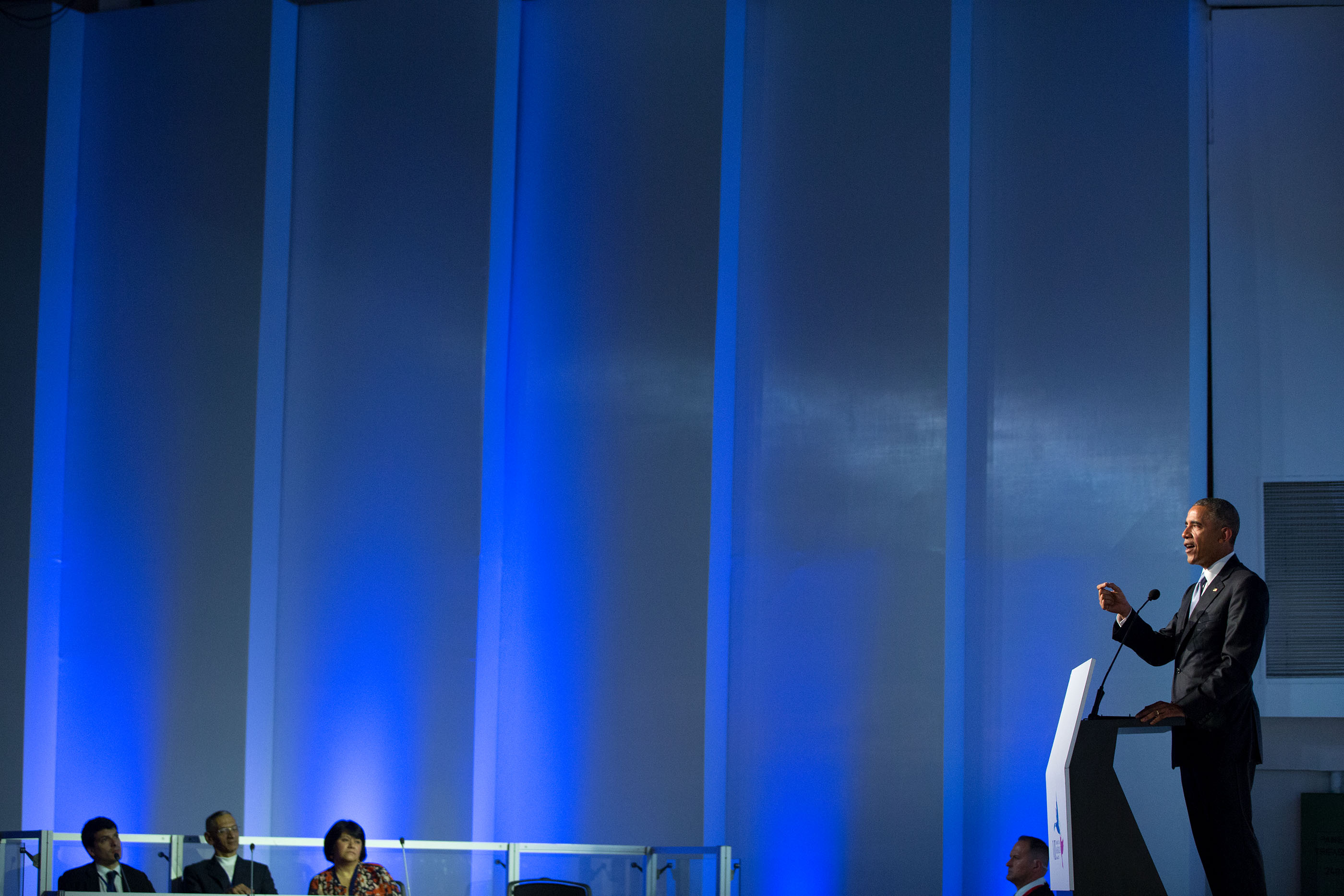 President Obama delivers remarks at a Civil Society Forum. (Official White House Photo by Pete Souza)