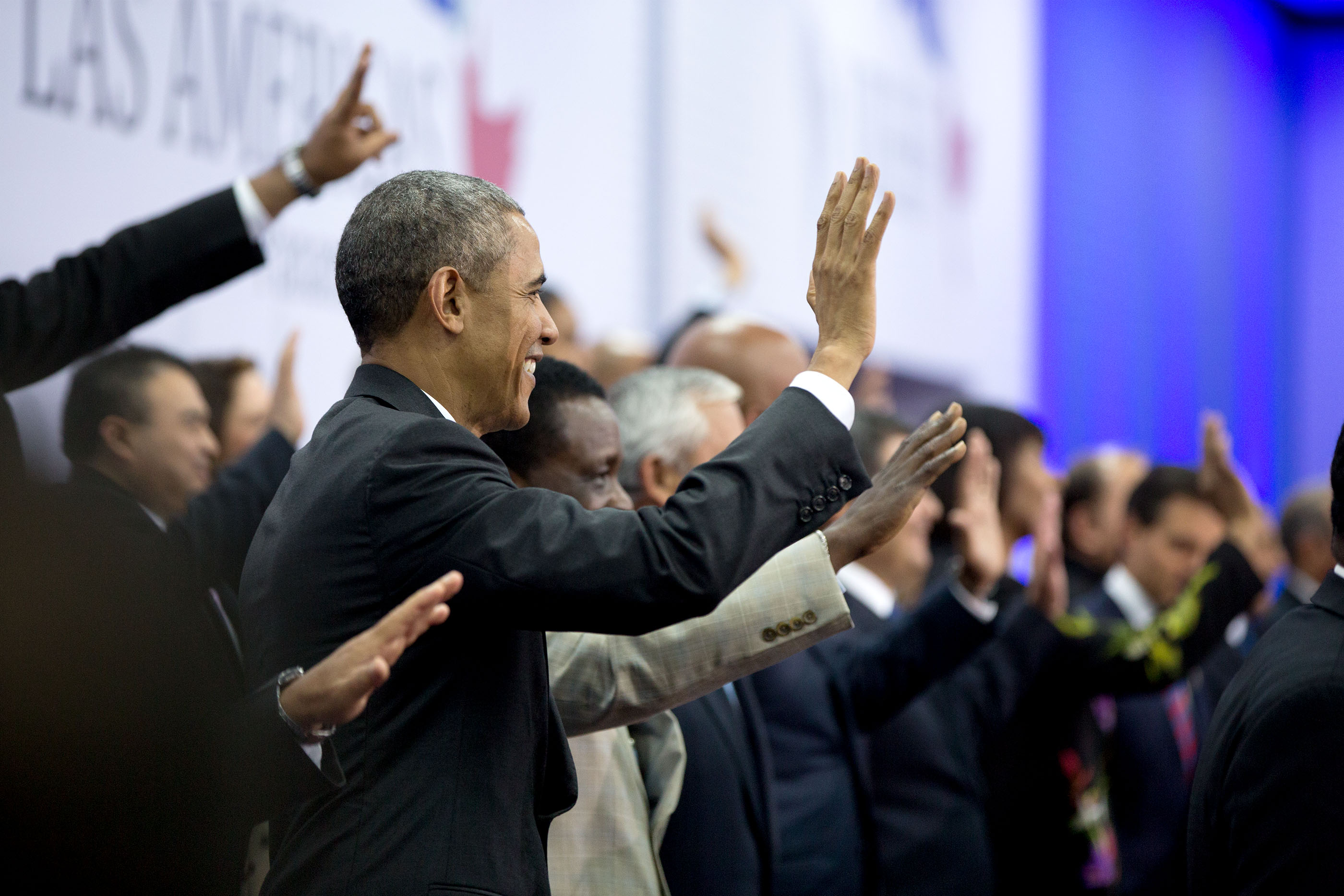 President Obama waves during the group photo. (Official White House Photo by Pete Souza)