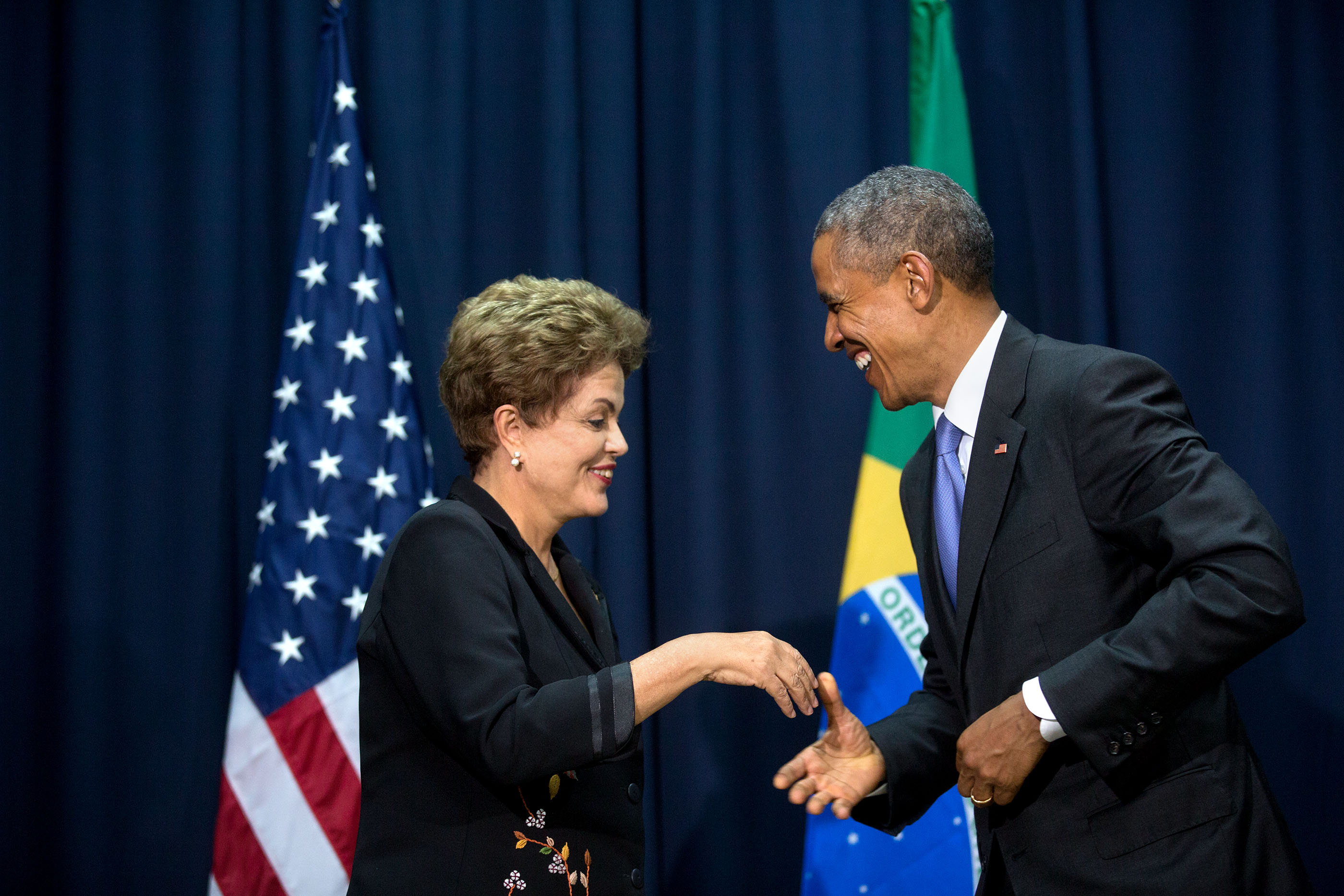 President Obama shakes hands with President Dilma Rousseff of Brazil at the start of their bilateral meeting. (Official White House Photo by Amanda Lucidon)