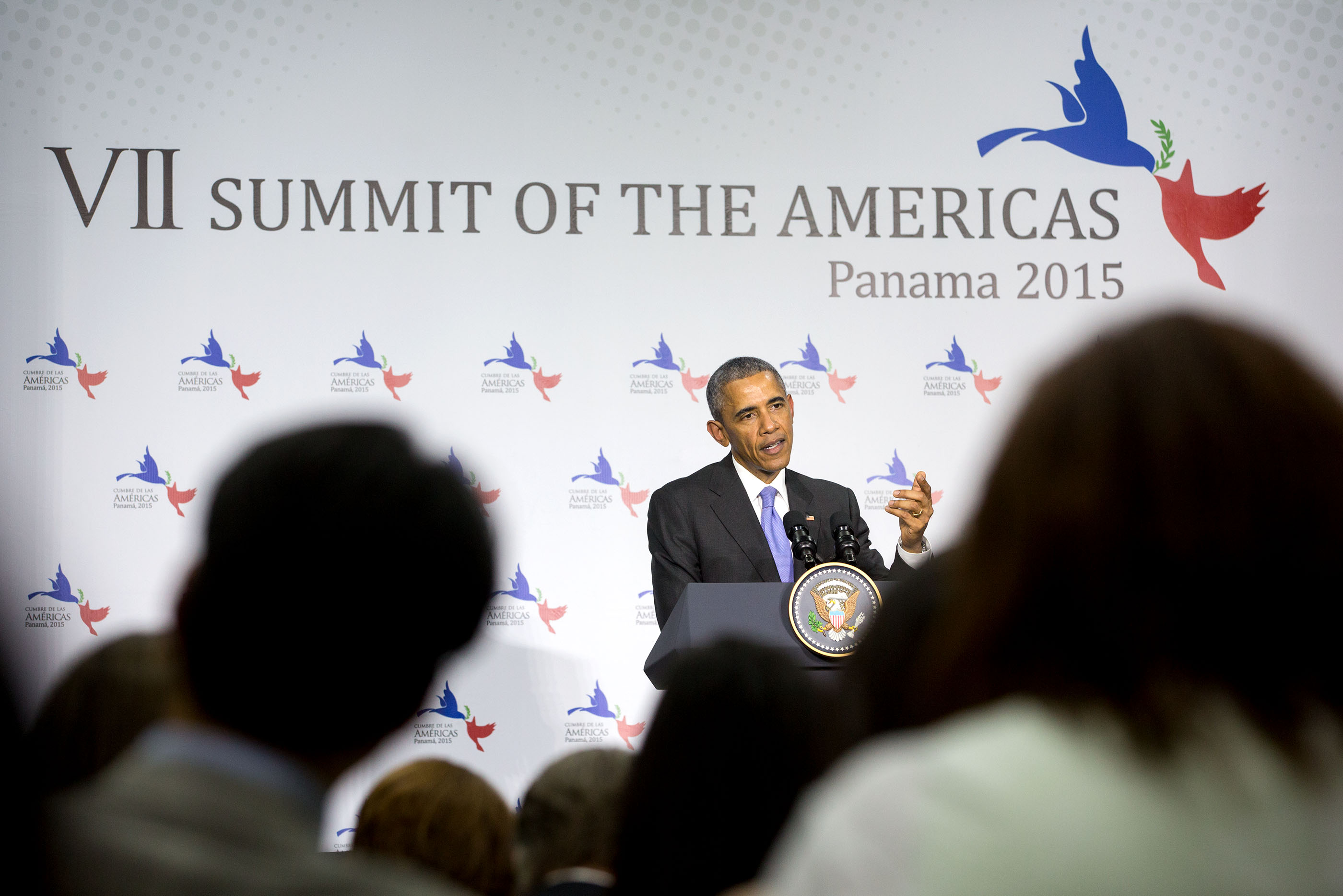 President Obama speaks during a press conference at the conclusion of the Summit of the Americas at the ATLAPA Convention Center. (Official White House Photo by Amanda Lucidon)