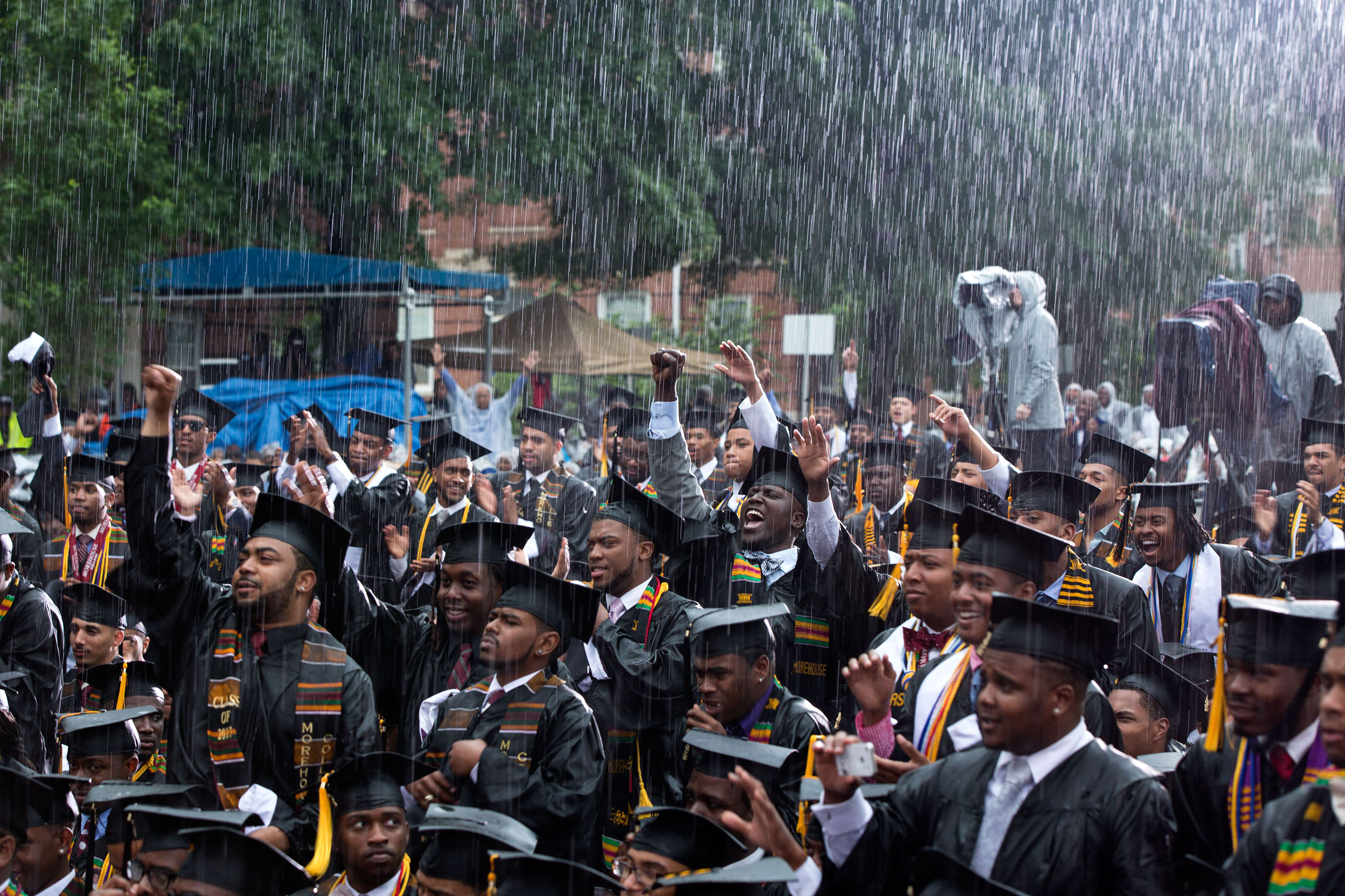 Georgia, May 19, 2013. Graduates cheering the President during a heavy downpour at Morehouse College in Atlanta. (Official White House Photo by Pete Souza)