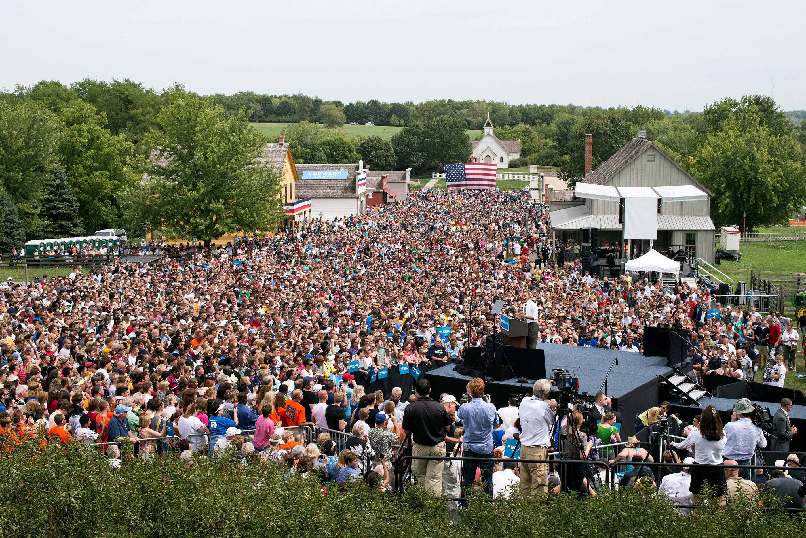 Iowa, Sept. 2012. Speaking at a grassroots campaign event at Living History Farms in Urbandale. (Official White House Photo by Pete Souza)