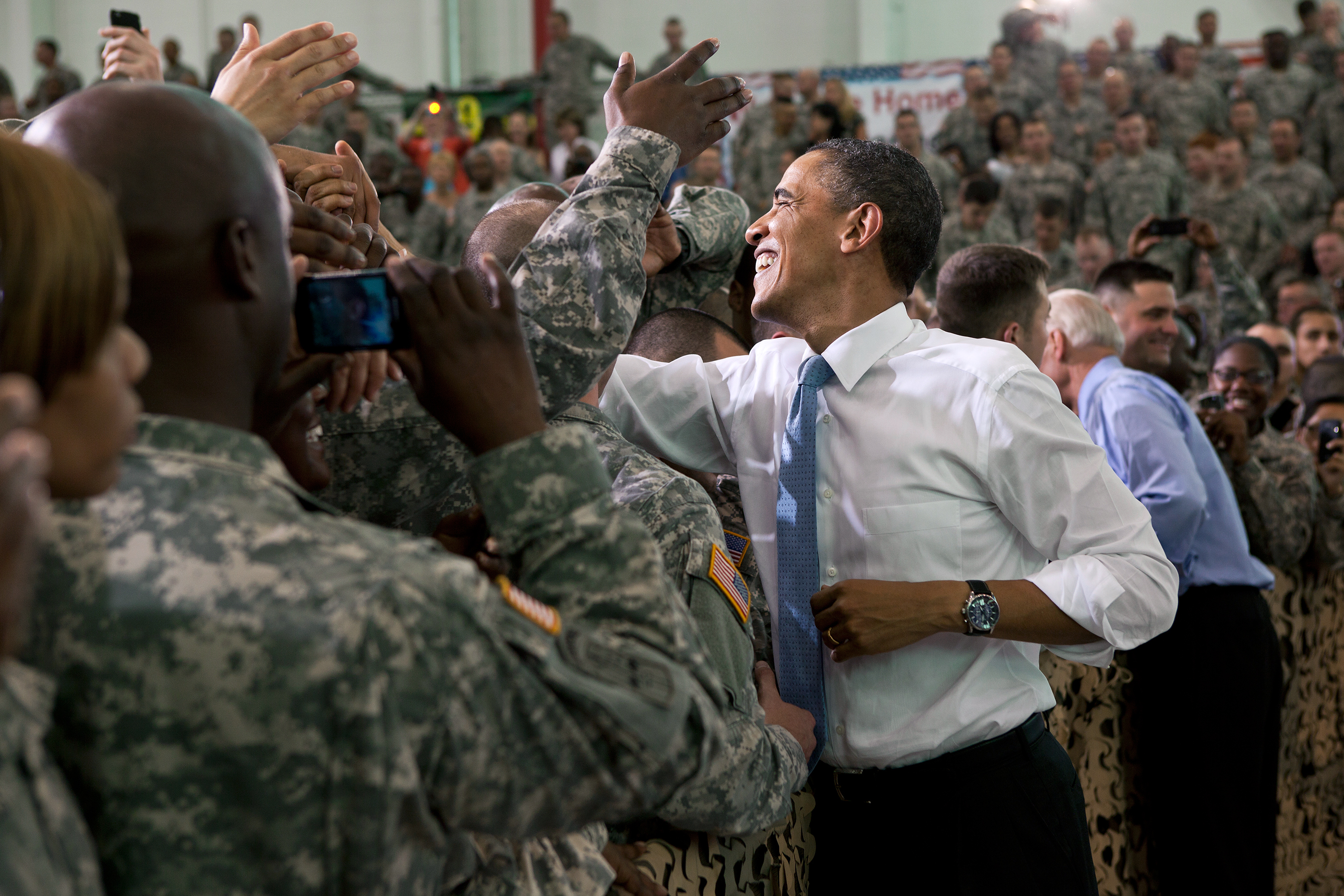 Kentucky, May 6, 2011. Greeting  troops with the Vice President at Fort Campbell. (Official White House Photo by Pete Souza)