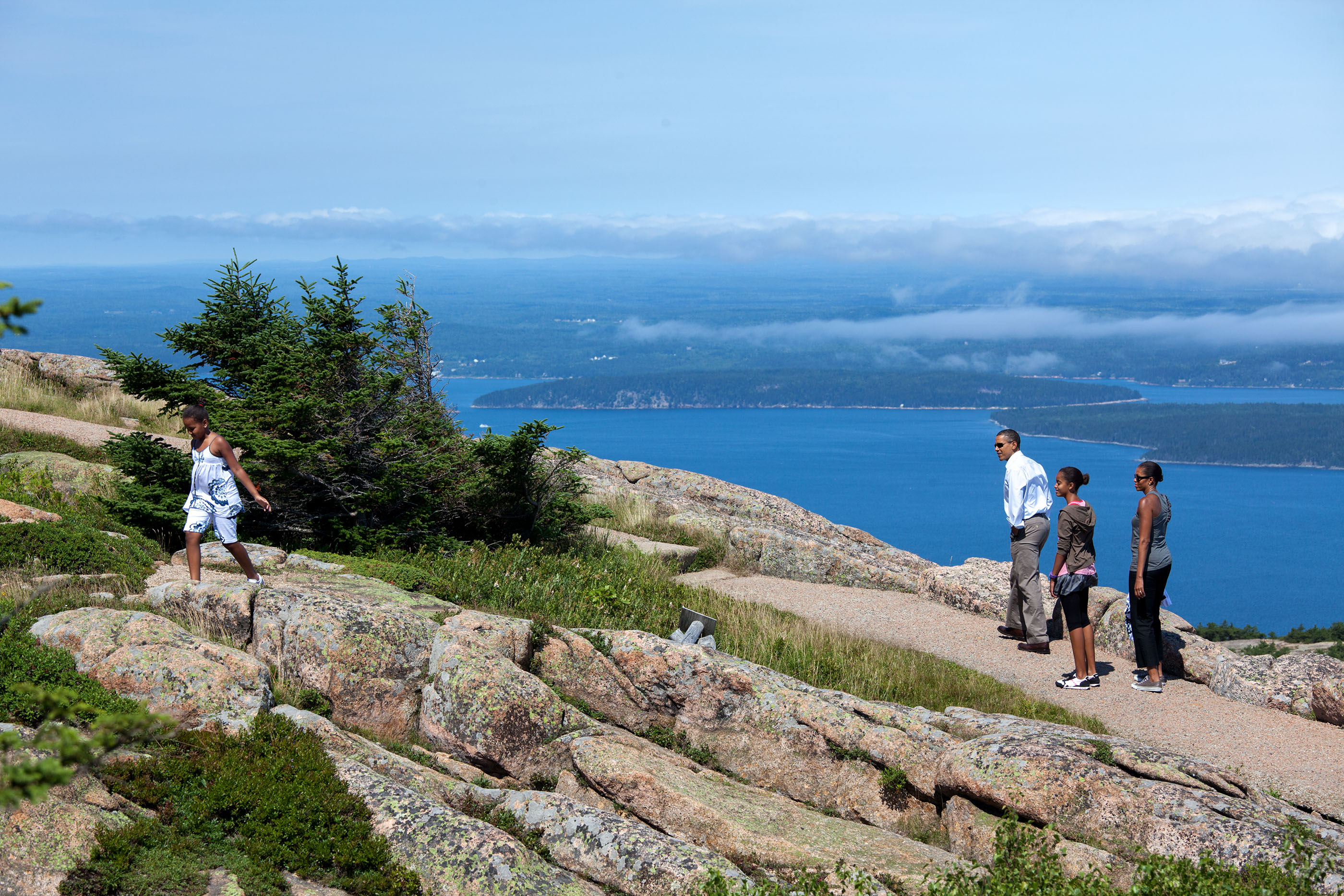 Maine, July 16, 2010. Hiking with the family on Cadillac Mountain at Acadia National Park. (Official White House Photo by Pete Souza)