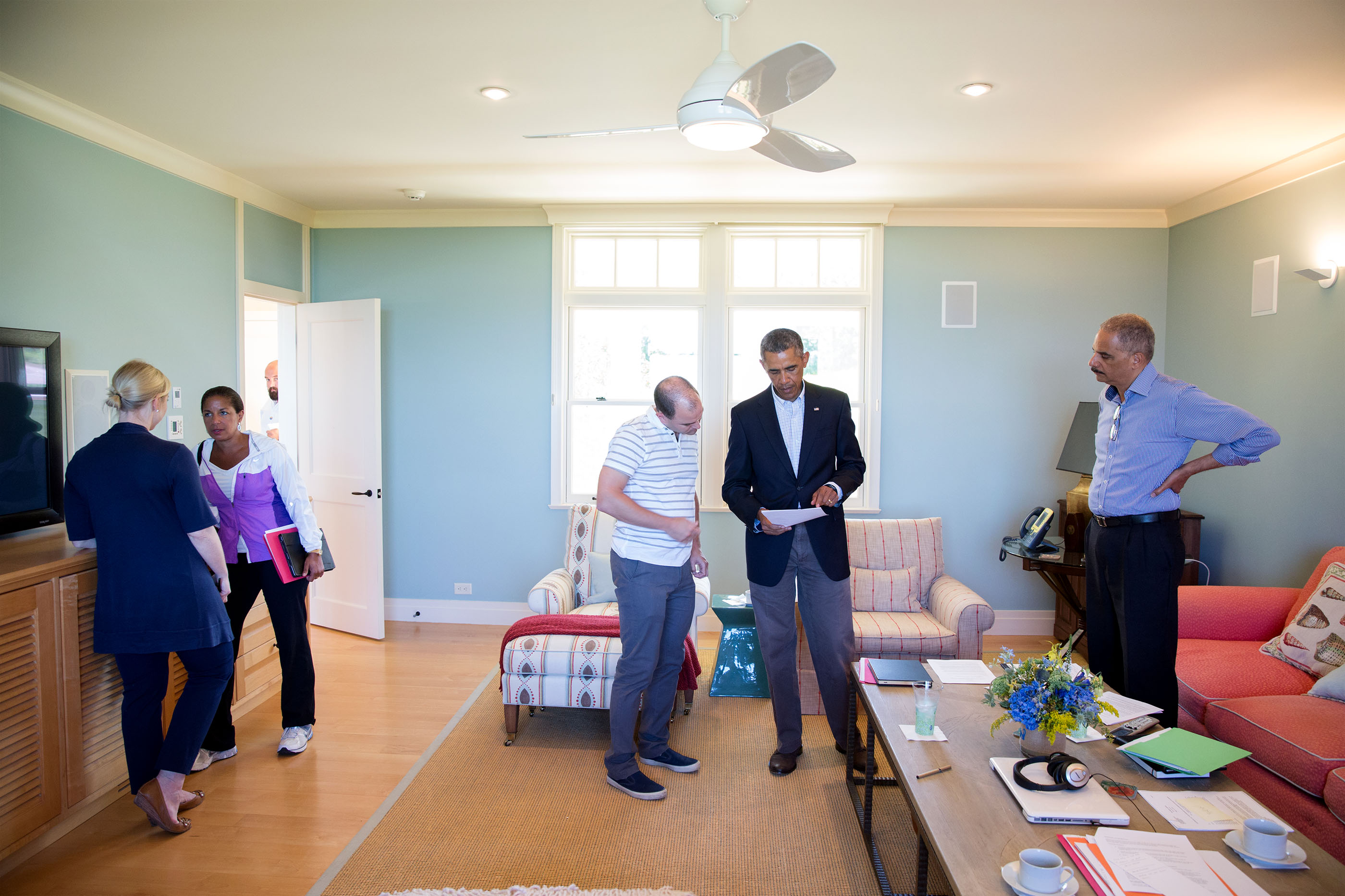 Massachusetts, Aug. 14, 2014. Discussing the situation in Ferguson, Missouri, while on vacation in Martha's Vineyard. (Official White House Photo by Pete Souza)
