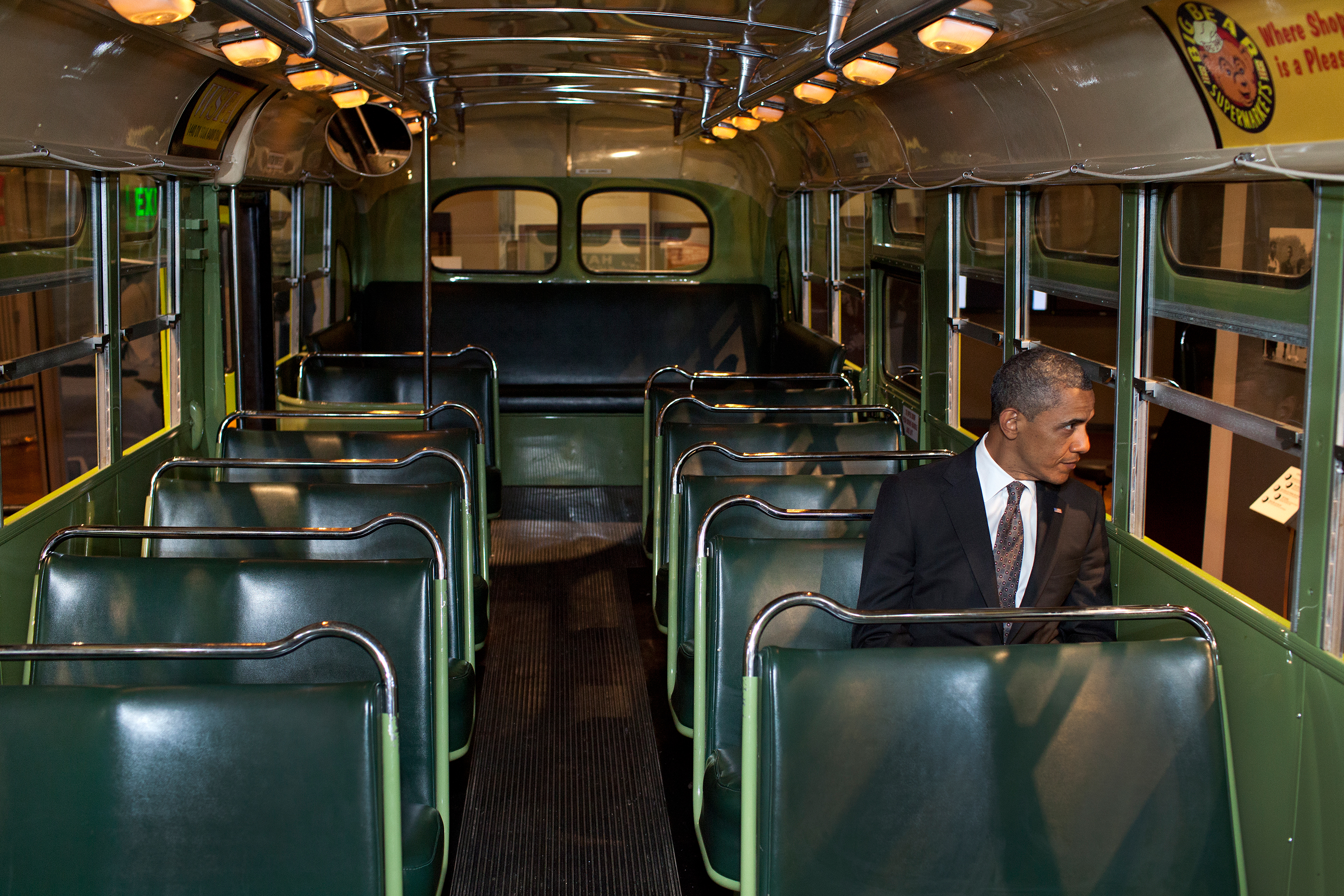 Michigan, April 18, 2012. Sitting on the famed Rosa Parks bus at the Henry Ford Museum in Dearborn. (Official White House Photo by Pete Souza)