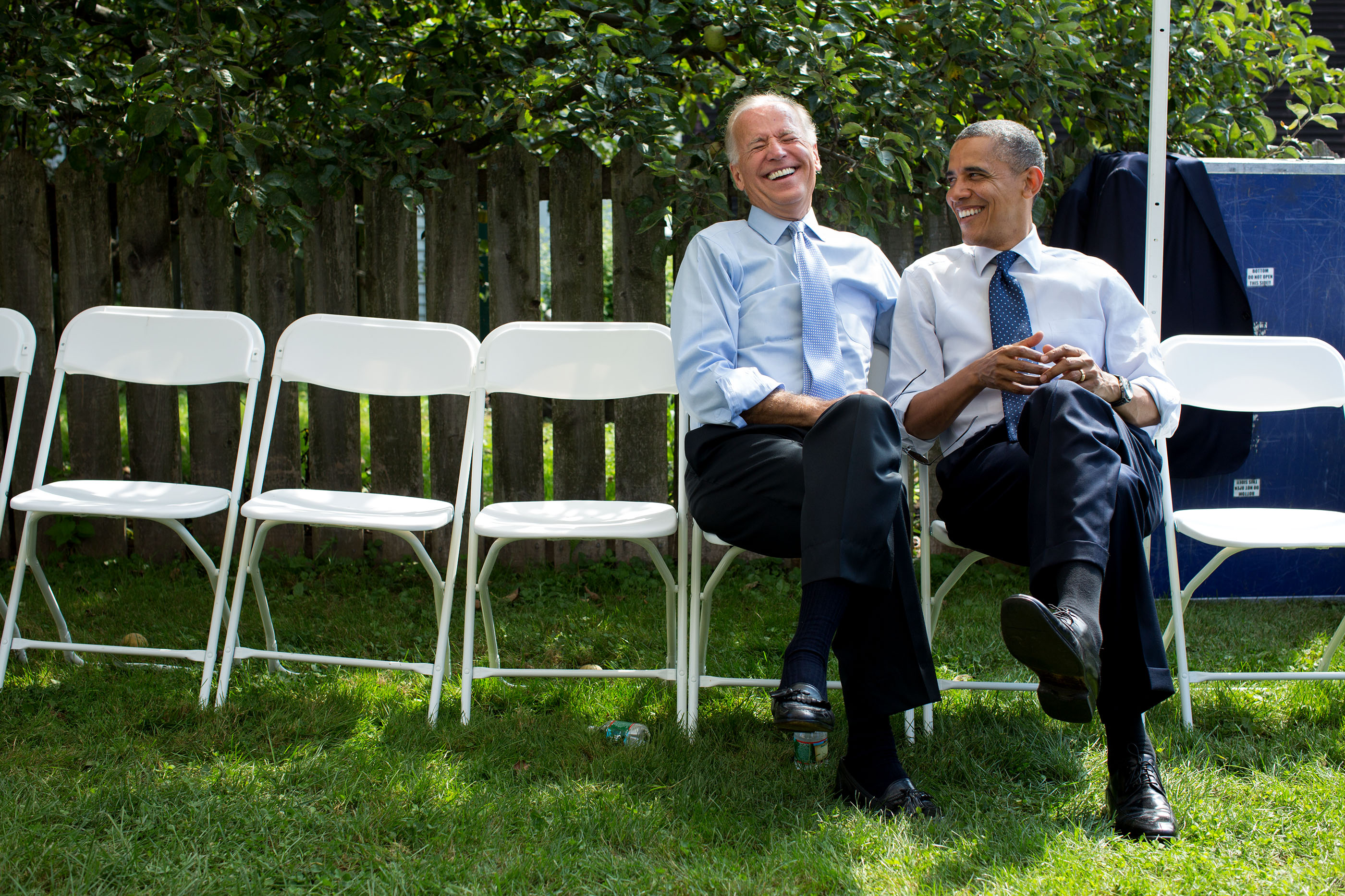 New Hampshire, Sept. 7, 2012. Joking with the Vice President Joe Biden before a campaign rally in Portsmouth. (Official White House Photo by Pete Souza)