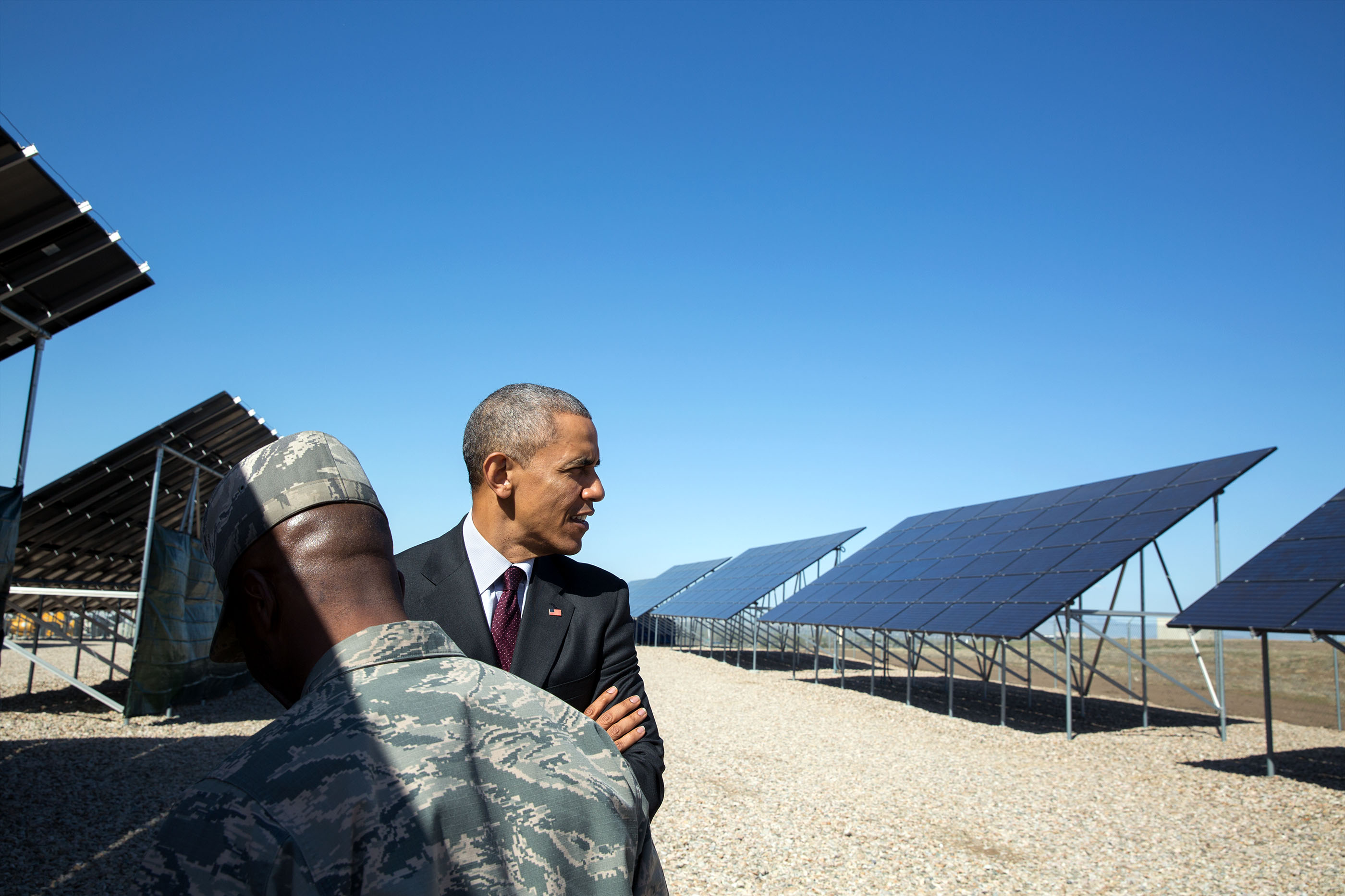 Utah, April 3, 2015. Viewing solar panels at Hill Air Force Base. (Official White House Photo by Pete Souza)