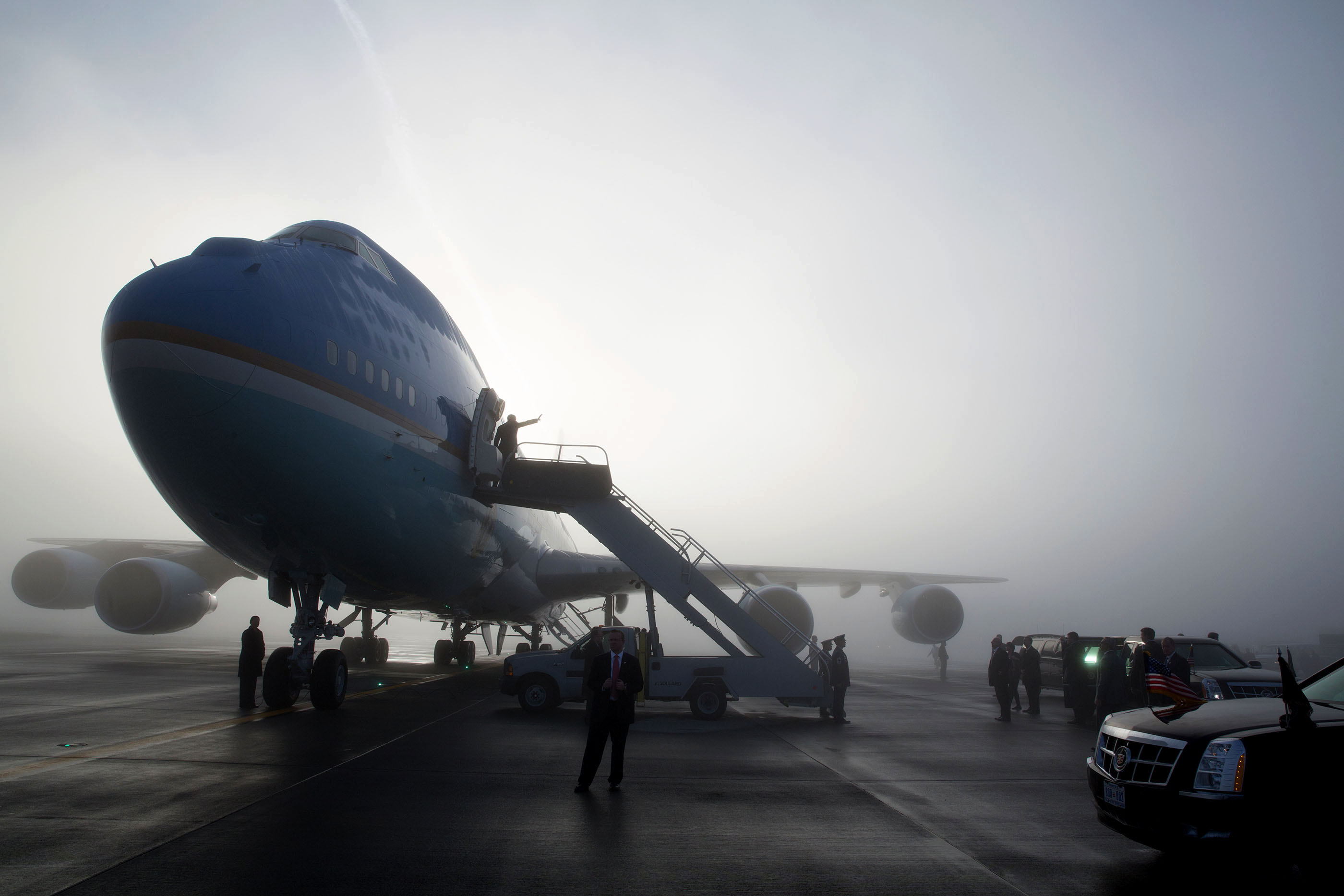 Washington, Nov. 25, 2013. Departing Seattle on a foggy morning. (Official White House Photo by Pete Souza)